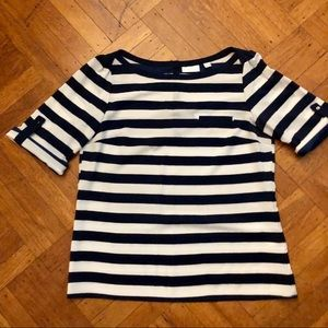 NY&Co Navy/white/silver striped blouse